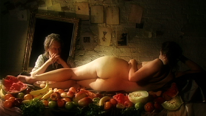 Michael Pope Living Images: Eating Venus/Man with Reclining Woman on Table - BriAnna Olson, Michael Pope